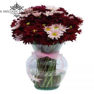 Margaritas color vino y rosas, sobre florero de vidrio adornado con moño de satín rosa. Magic One