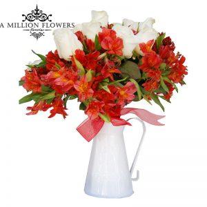 Diseño floral de rosas y alstroemelia 1
