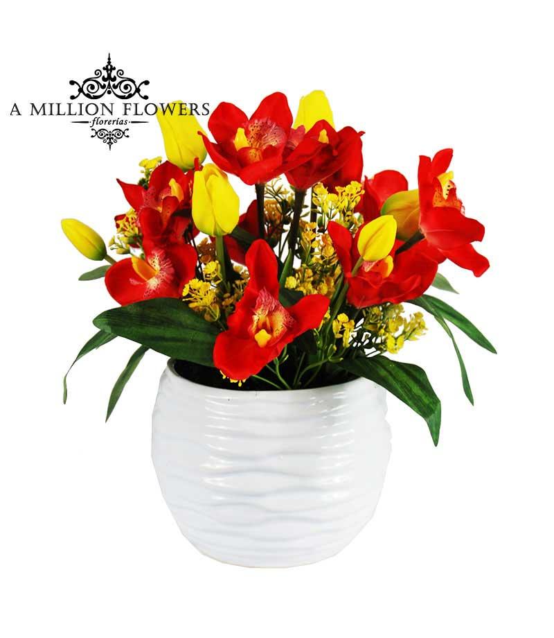 Diseño Floral Artificial Tulipanes Orquideas 1