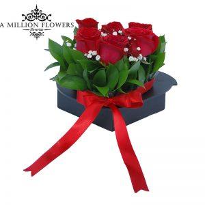 Diseño floral de rosas en corazón chico 1