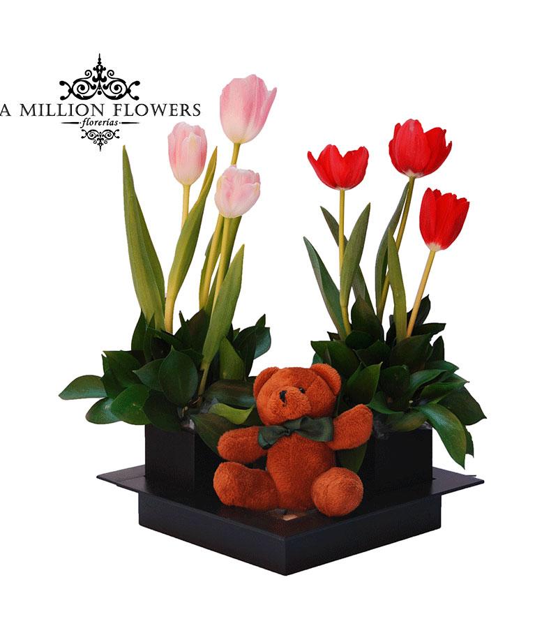 Diseño Floral Tulipanes Con Osito De Peluche 1