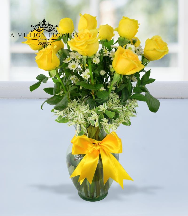 Arreglo Floral Encantamiento De Rosas Amarillas