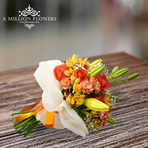 Vista lateral del Ramo floral tímido silencio con lili