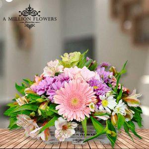 Vista frontal del Diseño floral una sonrisa