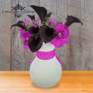 Vista frontal del Arreglo tu belleza con orquídea artificial