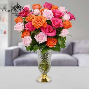 Vista frontal del Arreglo number one de rosas de colores