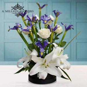 Vista frontal del arreglo floral iris