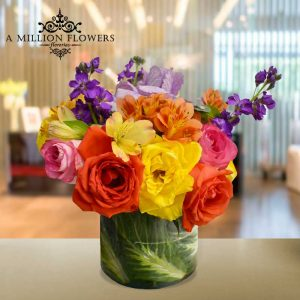 Vista frontal del Arreglo floral matiola de flores mixtas